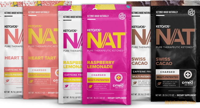 3 Flavors of Keto OS Nat Packets Sachets - Heart Tart - Raspberry Lemonade - Swiss Cacao