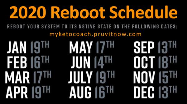 Keto Reboot Schedule - 2020